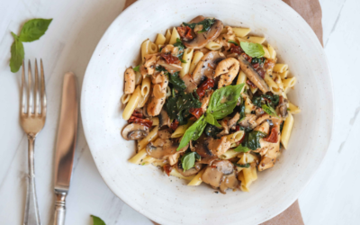 Creamy Chicken Mushroom & Tomato Pasta