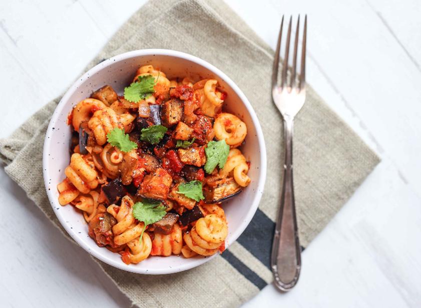 Aubergine & Tomato Pasta