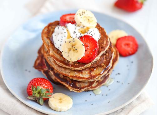 Banana & Strawberry Pancakes